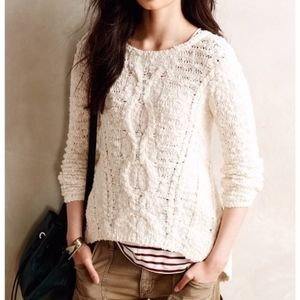 Anthropologie | Moth Crossed Cables Ivory Sweater